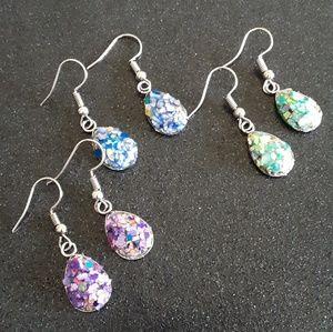 Purple blue druzy teardrop dangle earrings